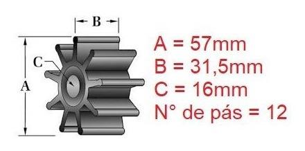 21951346 rotor bomba água sal volvo penta 4.3 5.0 5.7 v6 v8