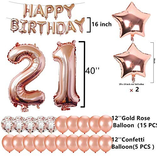 21st birthday decorations party supplies jumbo rose gold foi