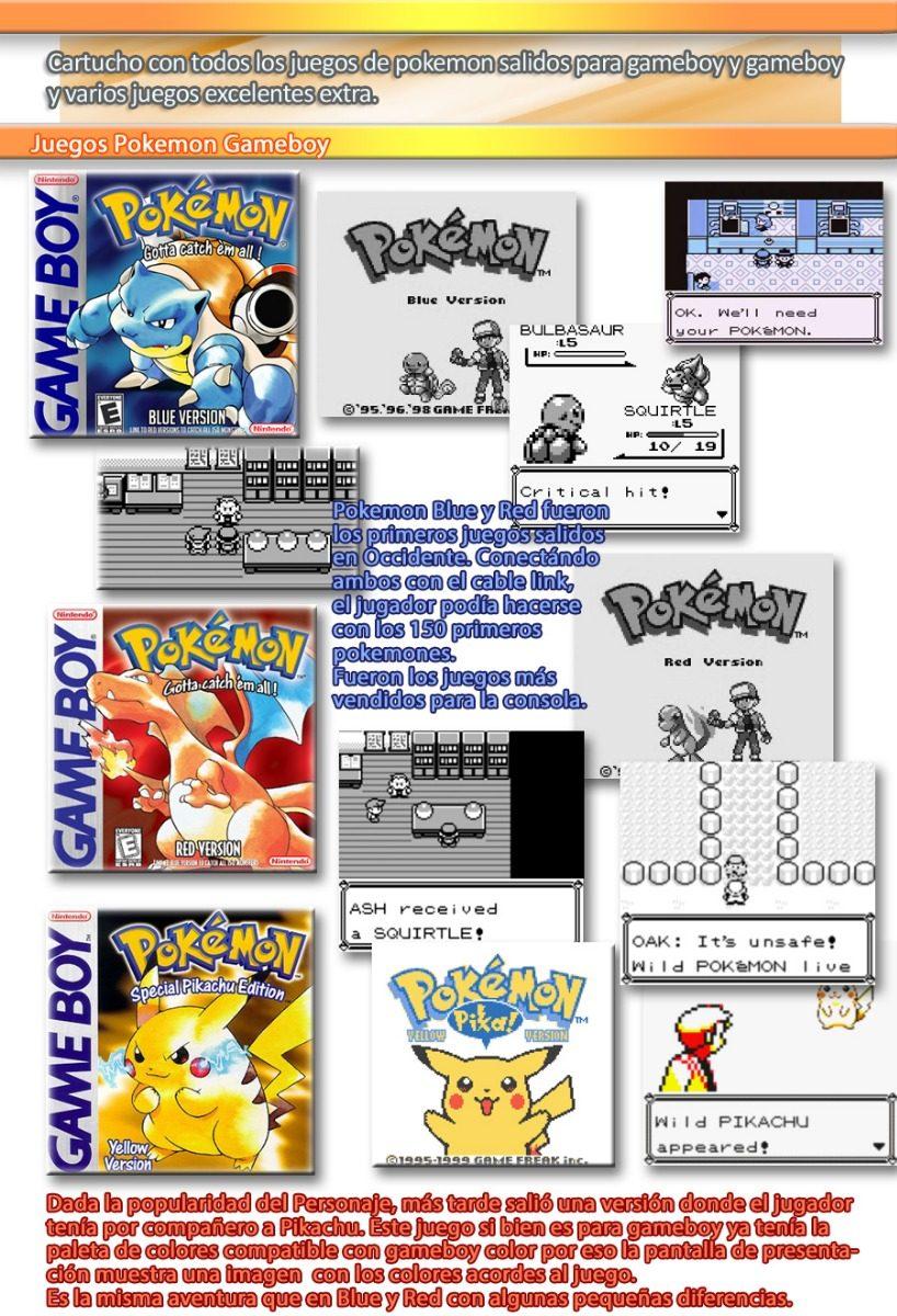 22 En 1, Gameboy Color Y Gba - Todo Pokemon Megaman Y Más - $ 1.249 ...