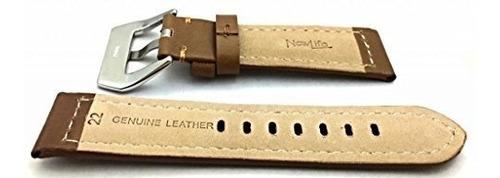 22 mm panerai estilo marron cuero genuino banda de reloj |