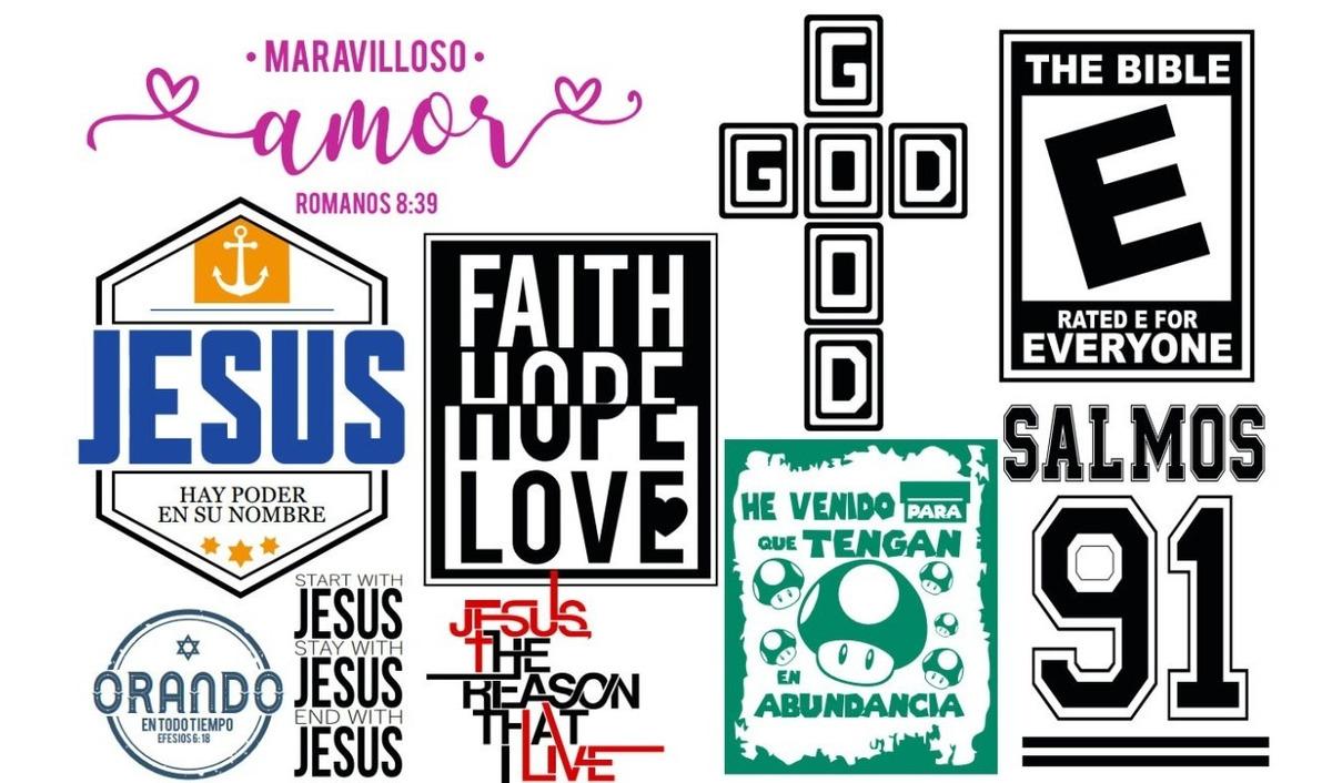 220 Vectores Vinilo Sublimar Remeras Frases Cristianas
