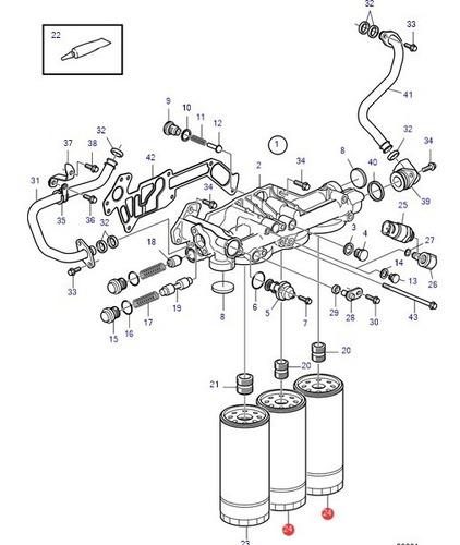 22030848 filtro óleo bay pass volvo penta d9 d11 d13 d16