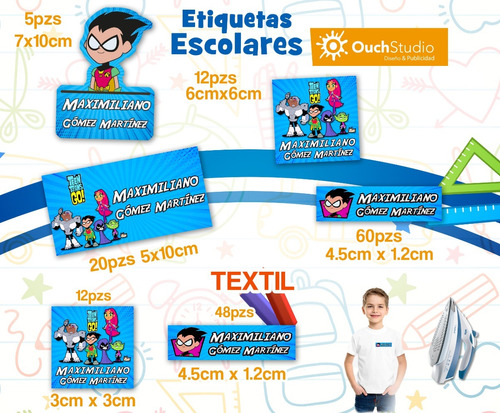 222 etiquetas + 60 textiles - escolares personalizadas
