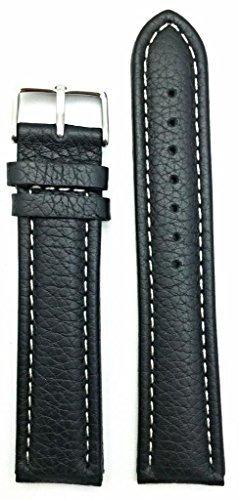 22mm de largo, correa de reloj de cuero genuino negro | corr