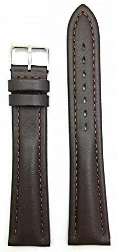 22mm xlong cuero suave marron oscuro correa de reloj medio a