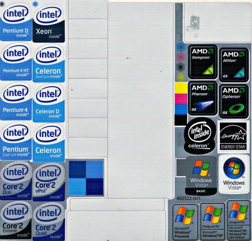 23 sticker's metalizados intel, amd, xp, core 2 quad