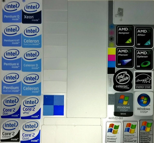 23 sticker's metalizados intel, amd, xp, energy star