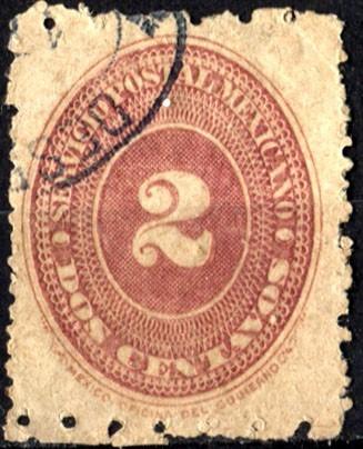 2372 numeral rojo café 3° e scott#194 b 6x12 2c usado 1887