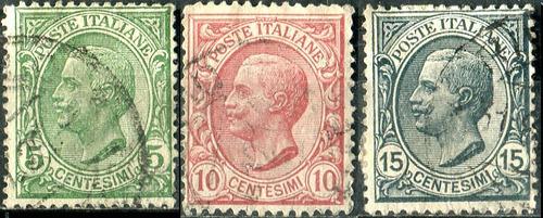 2391 italia serie rey victor m 3° 3 sellos usados 1906-19