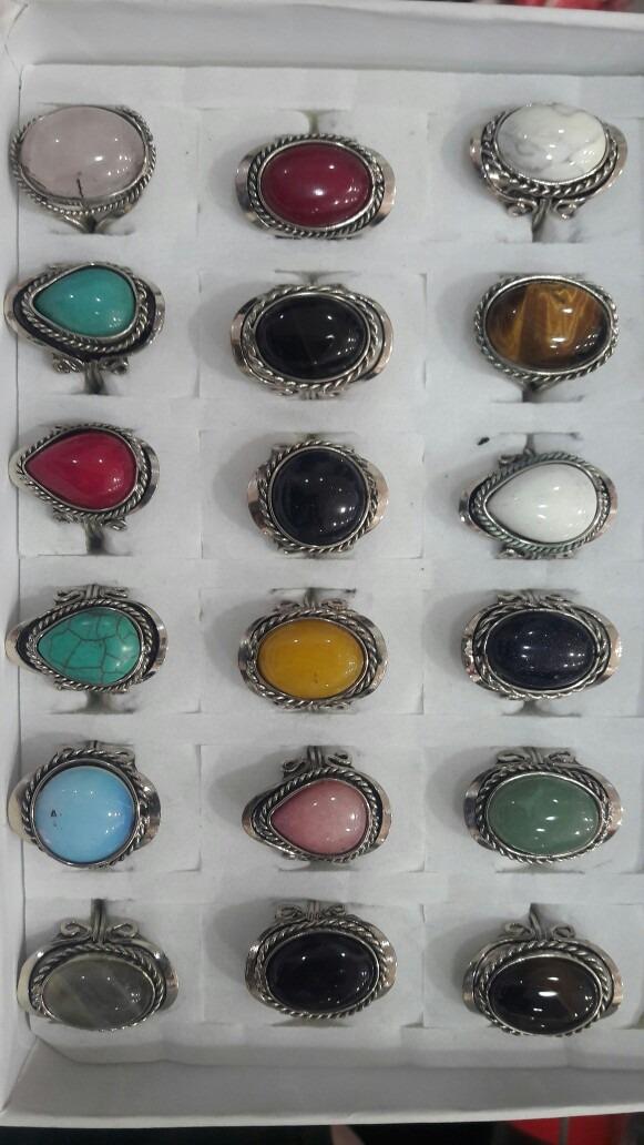 30fd30b593671 24 anillos alpaca regulables piedras naturales por mayor. Cargando zoom.