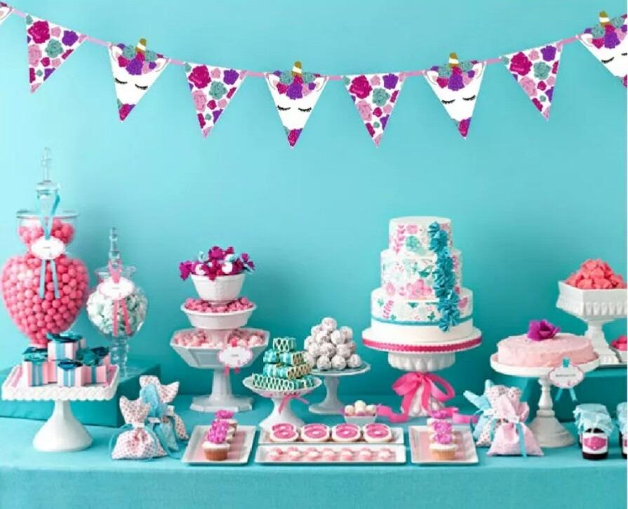 24 banderines de unicornio candy bar mesa dulces guirnalda
