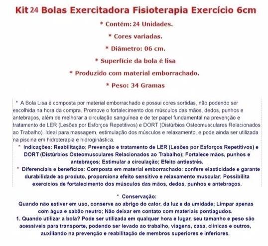 4ea905a7db 24 Bolas Lisa Exercitadora Fisioterapia Bolinha De Mão 6 Cm - R  49 ...