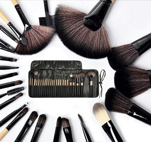24 brochas profesionales maquillaje pelo de cabra