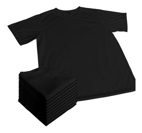 24 camisetas preta adulto sublimação 100% pol. camisas cpa