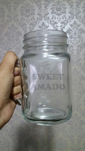 .24 caneca mason jar vidro sem tampas/ canudo sweet amado
