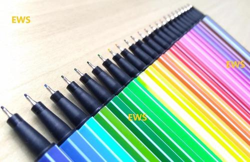 24 caneta colorida ponta fina 0.4 cores tipo stabilo