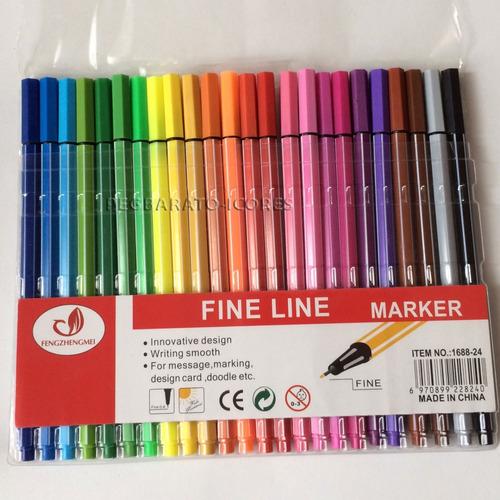 24 canetas coloridas ponta fina 0.4 cores tipo stabilo