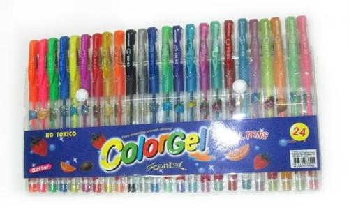 24 canetas gel colorida perfumadas glitter neon frete grátis