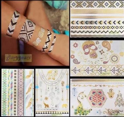 24 cartelas flash tattoos gold tatuagem temporaria adesiva
