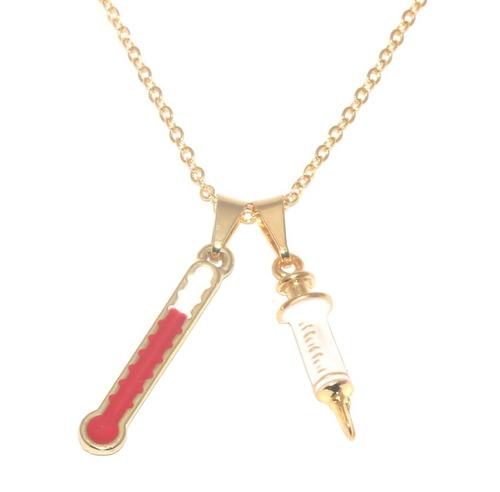 24 colares enfermagem esteto seringa folheado ouro 18k