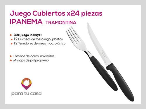 24 cubiertos tramontina cuchillos tenedor plástico ipanema