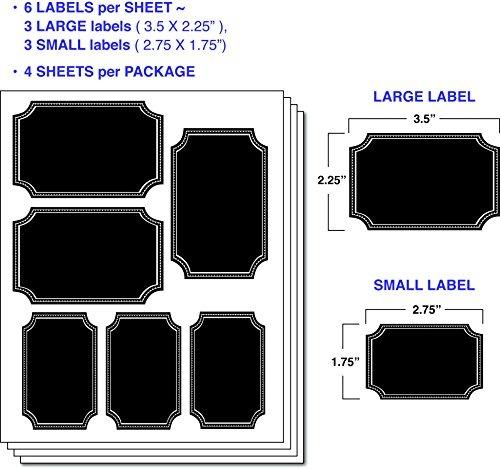 Etiquetas adhesivas rectangulares grandes de pizarra 12 unidades