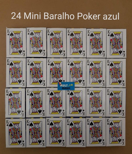 24 mini jogo de baralho poker 54 cartas truco azul