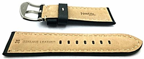 24 mm cuero genuino estilo panerai negro con banda de reloj