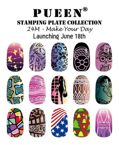24 placas pueen original make your day estampado de uñas