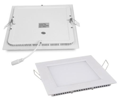 24 plafon led painel slim 6w luz quente quadrado embuti spot