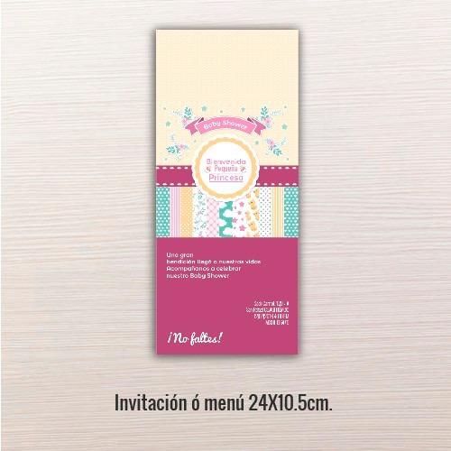 24 pz - invitaciones - baby shower // 24x10.5cm.