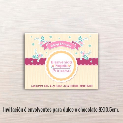 24 pz - invitaciones - baby shower // 8x10.5cm.