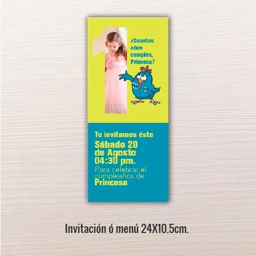 24 pz - invitaciones - cumpleaños // 24x10.5cm.