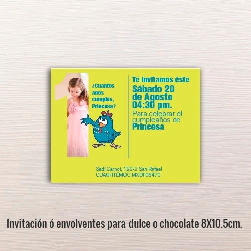 24 pz - invitaciones - cumpleaños // 8x10.5cm.