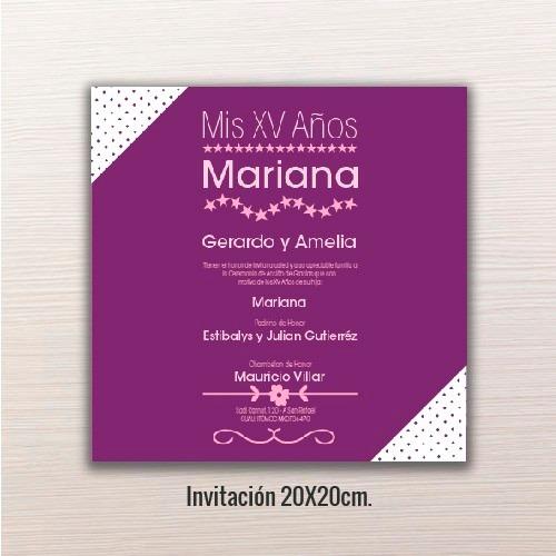 24 Pz Invitaciones Xv Años 20x20cm