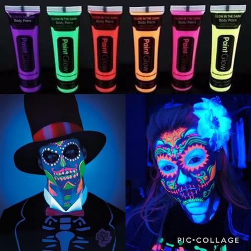 24 tubos pinturaglow luz noche maquillaje neon