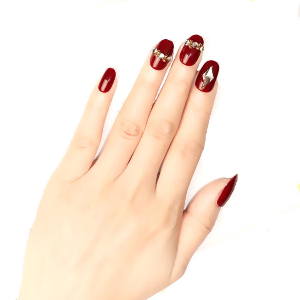 24 Uñas Postizas Para Mujer Color Rojo Rombo Diamante