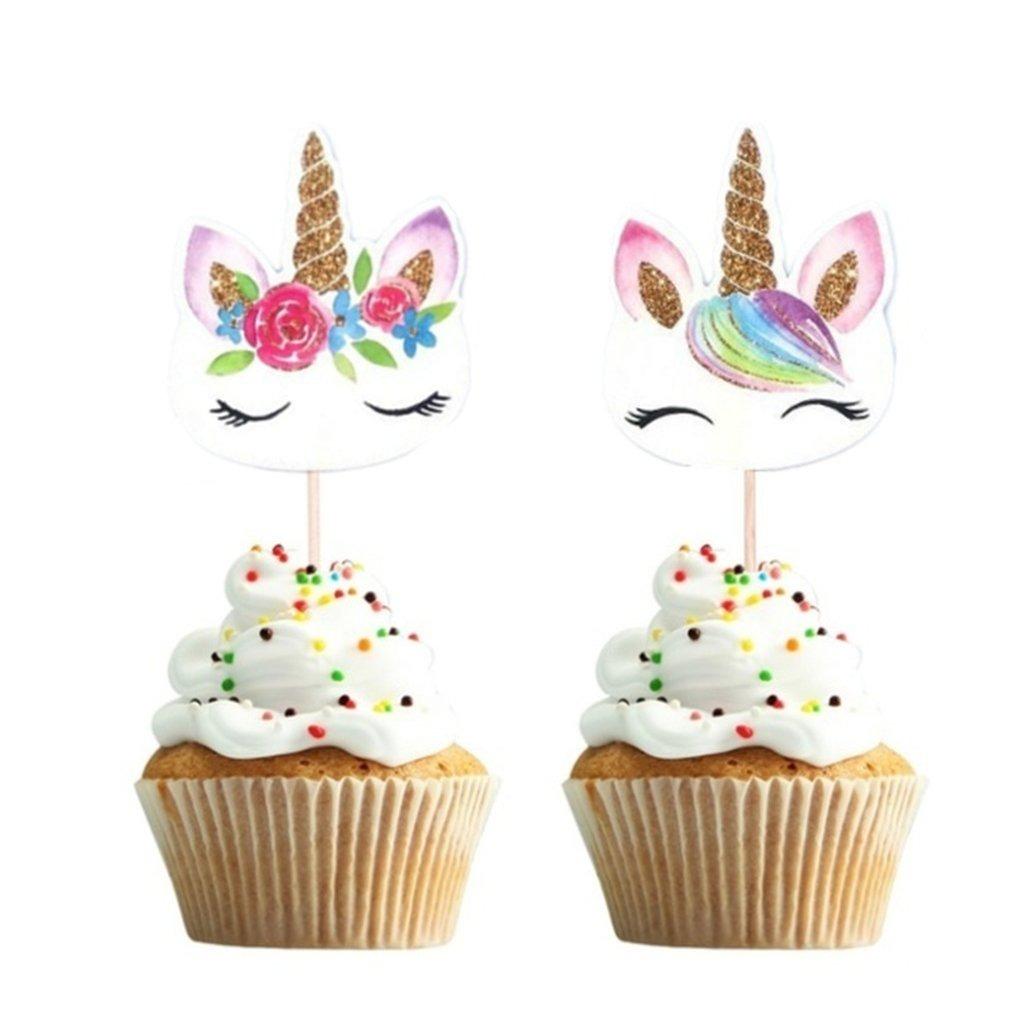 24 Unids Set Unicornio Dibujos Animados Cupcake Toppers Ca