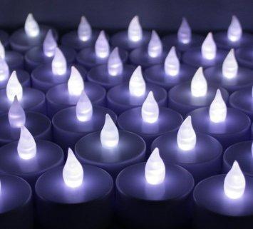 24 velas led blancas para fiestas y eventos bautizos bodas