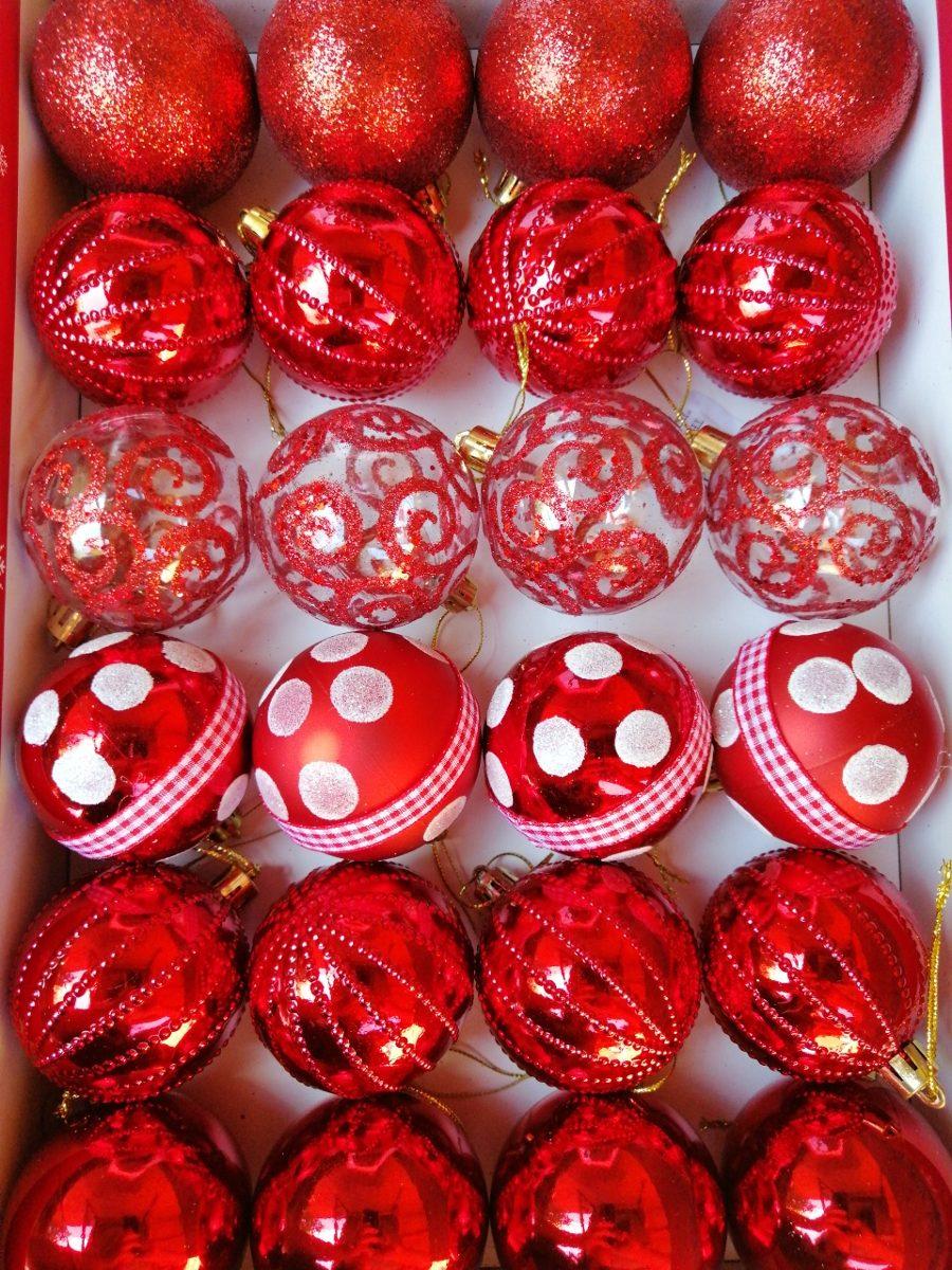 24 X Esferas Navideñas Decoradas 6 Cms Diámetro Caja Prese
