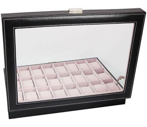 24/10/6 reloj almacenamiento caja cuero pantalla organizador