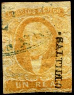 2422 clásico scott #2 saltillo amarillo ob 1 real usado 1856