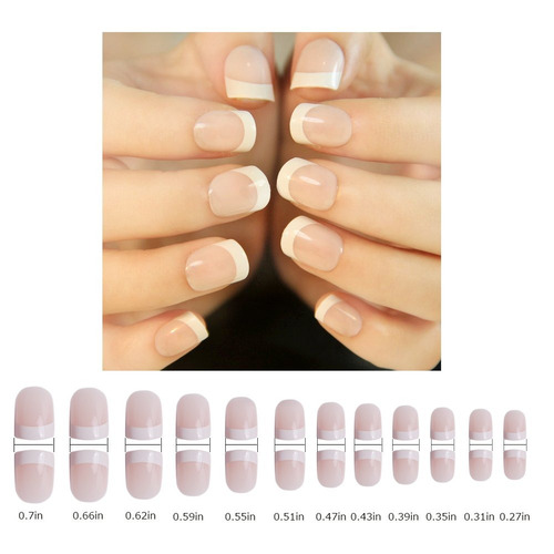 24pcs 12diferentes tamaño natural francés uñas postizas