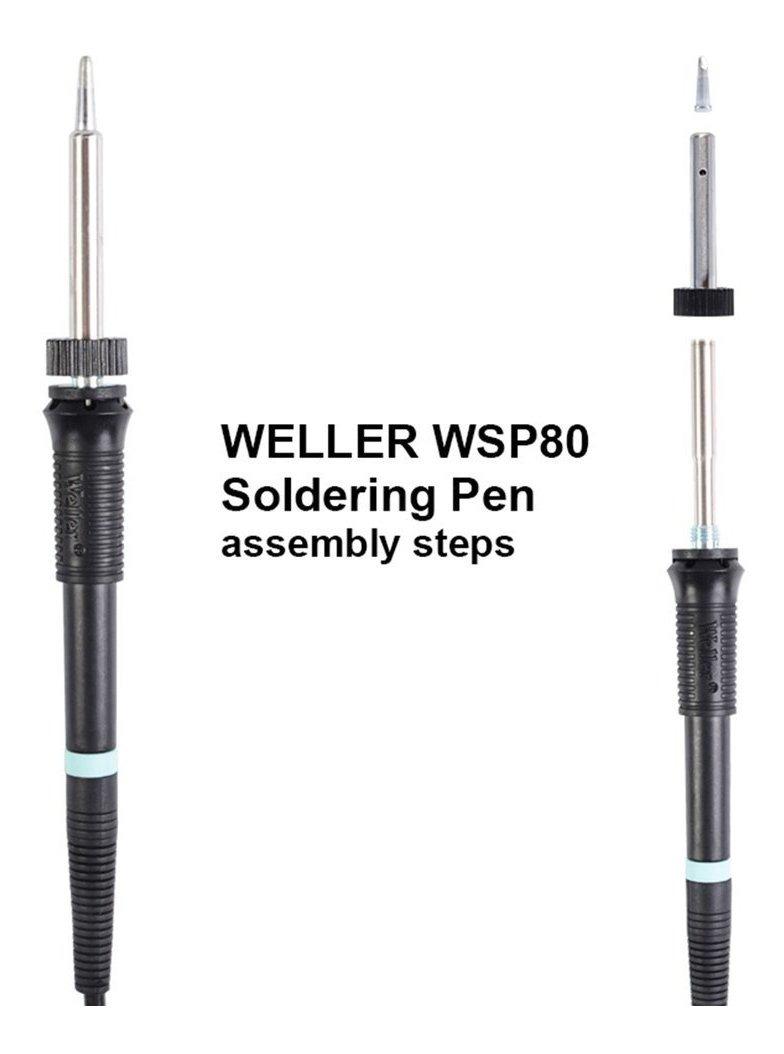 80W Mango de soldador el/éctrico WSP80 Pluma WSD81 Mango de estaci/ón de soldadura para Weller WS81 WS80 Herramienta de soldadura-Negro 24V