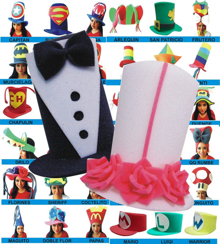 25+2 sombreros espuma paquete boda novios sombrero fiesta dj