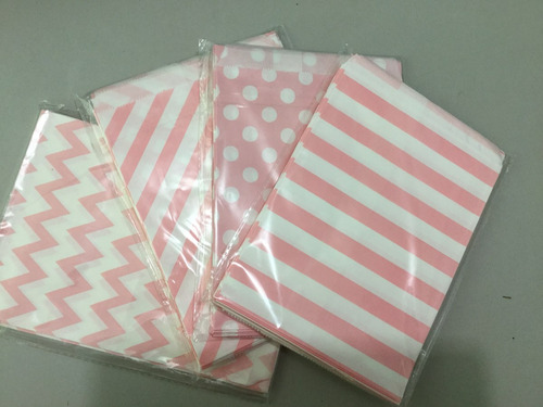 25 bolsas de papel kraft para mesas de dulces de colores