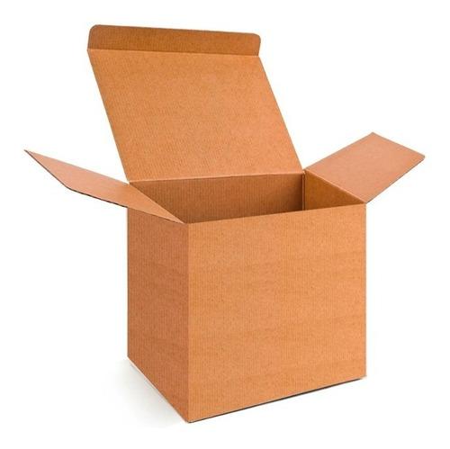 25 caja de carton microcorrugado kraft 11x10x9cms taza chica