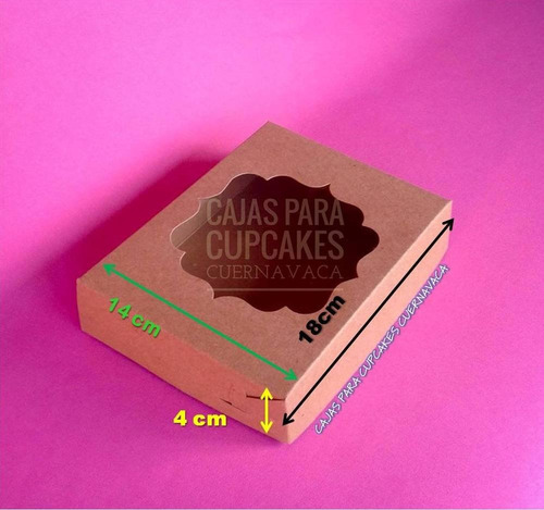 25 cajas galleta chica c/ventana kraft 18x14x4cm