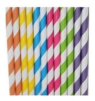 25 canudo de papel vintage coloridos ecologicamente correto