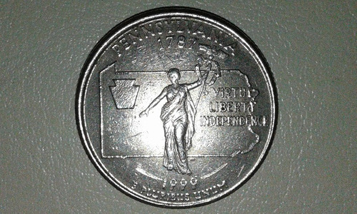 25 centavos pennsylvania 1787-1999 letra p